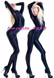 Wholesale Spandex Body Suit Costume - Sexy Dark Blue Lycra and Black Spandex Silk Body Suit Catsuit Costumes Unisex Bodysuit Cosplay Costumes Outfit Halloween Cosplay Suit M059