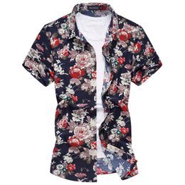 Wholesale Mens Slim Fit Silk Shirts - Plus size 6XL 24 Color Silk cotton men flower Mens floral shirts Short sleeve Men dress shirt slim fit Camisa 2017 Summer