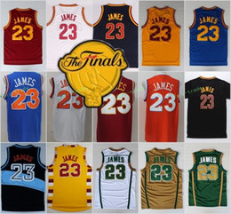 Wholesale Blue Mary - Men 23 LeBron James 2017 Final Patch Jersey St. Vincent Mary High School Irish Blue White Red Yellow Basketball Movie TUNESQUAD Throwback
