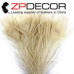 Wholesale Peacock Feather Wedding Decorations - Hot Selling ZPDECOR 50pcs lot 25-30cm(10-12inch)bright Quality Assurance Ivory Peacock Feathers Wholesale For Wedding Decorations
