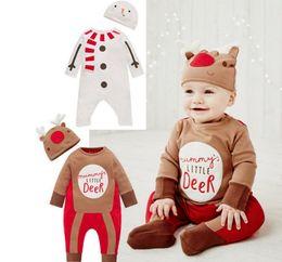 2019 nouveaux cadeaux au chocolat pour bébés 50% de réduction en gros nouveau Noël bébé barboteuses nouveau-né 100% coton cadeau cerf rouge et homme de neige tyle 6pc / lot promotion nouveaux cadeaux au chocolat pour bébés