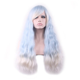 Wholesale heat corn - Women ombre blue wig cosplay hair heat resistant corn long curly synthetic wigs with bangs