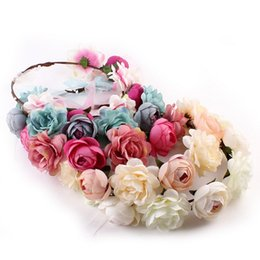 Wholesale Rose Flower Headdress Hair Band - New Bohemia Handmade Flower Crown Wedding Wreath Bridal Headdress Headband Hairband Hair Band Accessories for Women Lady wa3723