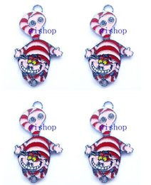 Wholesale Alice Wonderland Charm - New Alice in Wonderland Cheshire Cat Metal Charm pendants Jewelry Making Party Gifts KA100