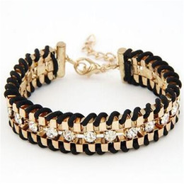 Wholesale Diamond Braid Bracelet - Fashion Charms Gold Diamond Chain Braid Bracelet Multilayer Metal Bracelet for Women European And American Trendy Jewelry