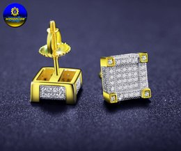 Wholesale 3d Jewelry - Mens Hip Hop 925 sterling silver Earrings Iced Out 3D Square Stud Earring Screw Backs gifts for mens jewelry