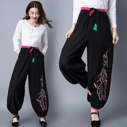 Wholesale Ethnic Pants - Women Plus Size Ethnic Casual Retro Cotton and Linen Embroidered Wide Leg Loose Pants Trousers 3567