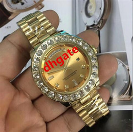 Wholesale Swiss Style Watches - High quality Swiss Top Luxury brand AAA Men's Automatic mechanical Big diamond gold watch similar INVICTA style +original box