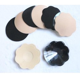 Wholesale Invisible Bra Paste - breast covers silicone paste petals reusable invisible nipple stickers stick paste bra accessories beige black retailed box