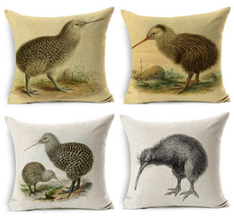 Wholesale Bedroom Stereo - 2017 New Arrival Kiwi Bird Cushion Cover Stereo Birds Thick Linen Cotton Pillow Cover 45X45cm Bedroom Sofa Decoration