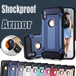 Wholesale Iphone Dual Hard Case - Steel Armor Case Dual Layer Shockproof Defender Robot Hybrid PC+Silicone Hard Cover for iPhone X 8 7 Plus 6 6S Samsung S8 S7 edge Note 8
