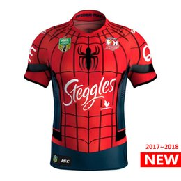 Wholesale orange spiderman - Sydney Roosters 2017 Marvel Spiderman Jersey football jersey Latest style sale Rugby Jerseys shirt S-3XL