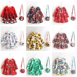 Wholesale Dress Girls Retro - Girls dresses Long sleeve with Bag Christmas 2017 Autumn Retro Floral printed Pleated Princess dress 100%cotton lining European style