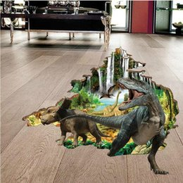 Wholesale Dinosaurs Wall Sticker - 8 designs Hot Selling New 3D Wall Stickers Creative Fashion Household Dinosaurs Stickers The Floor Stickers for Living Room And Bedroom
