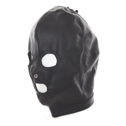 Wholesale Hole Sale Products - Hot Sale Fetish Dog Slave Soft PU Leather Mask Hood Bondage 3 Holes Breathe Head Restraint Adult Games Sex Products For Couples