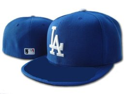 Wholesale Dodger Hats - top Sale Hip Hop Los Angeles Dodgers Baseball Fitted Caps Blue White Blocking Top Blue Brim Letter Sports Team Flat Hats
