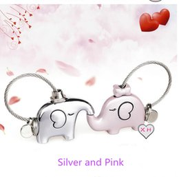 Wholesale Women Kissing Leather - 3D kiss elephant couple keychain for Lovers Gift Trinket lovely key holder women present Chaveiro Innovative Items