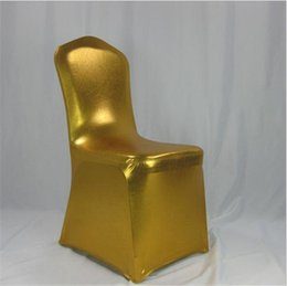 Wholesale Silver Wedding Banquet Chair Covers - gold chair cover metallic gold and silver reinforced elastic feet pocket for wedding G020