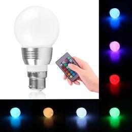 Wholesale Led Light Blub Remote - Wholesale- 3W B22 16 Colors Changing RGB LED Light Blub for Home Bayonet Bulb with Remote Control Lamp AC85-240V