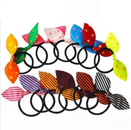 Wholesale Printed Elastic Hair Ties - bunny ears Bowtie Elastic HairBand baby Girls Hair Bow Headbands Hair Tie striped dots Fashion Hair Accessories Women