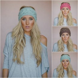 Wholesale Hair Headbands Braided - Woman Winter Headband Warm Ear Crochet Turban Cable Braided Hair Accessories For Lady Headwraps Wide Knit Head Band 24 Colors