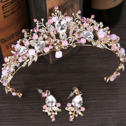 Wholesale Crown Pink Hair - New baroque rhinestone queen wedding crown tiaras pink bridal crystal tiara and earring hair jewelry accessories