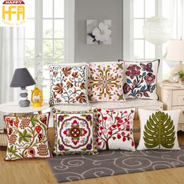 Wholesale Cushion Cover Embroidery Patterns - 45*45Cm Cushion Case Pillow Cover Embroidery Cushion Cover Tree Flower Pattern Pillowcase For Home Living Room Decoration