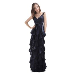Wholesale Good Ladies Satin Dresses - Good Quality Evening Ladies Black Dress Spaghetti Straps Ruffled Banquet Dress Zip Back 2017 Fashion Empire Style