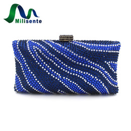 Wholesale River Wedding - Wholesale-Milisente Brand Women Evening Bags Diamante Crystal Clutch Bag River Pattern Wedding Party Purse Royal Blue Crossbody Handbags