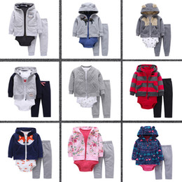 Wholesale Male Infant Clothes - A set of three children male baby infants and children's Pure cotton clothing children cardigan Hooded Fleece Jacket + clothes + pant suit