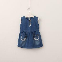 Wholesale Denim Lace Vest - 2017 Girls Denim Dresses Baby Girl Lace Pocket Vest Dress Kids Girls Fashion Autumn Clothing baby clothes
