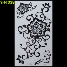 Wholesale paintings big eyes - Wholesale- Big flower Painted body art sticker Bracelet tattoo black tattoo flash tattoos large fake India spends temporary tattoo