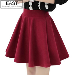 Wholesale East Knitting Fashion - East Knitting X-075 2017 women high waist pleated skirts new fashion Black candy color skirt S M L XL plus size