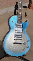 Wholesale Mahogany Maple Ebony - Wholesale-Ace Frehley Signature Electric Guitar with Blue Burst Silver Sparkle Mahogany Body Ebony Fingerboard 3pcs Chrome Pickups