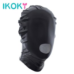Wholesale Cheap Sex Games For Couples - IKOKY Sex Headgear Open Mouth Hood Mask Adult Games Erotic Toys Slave Sexy Head Mask SM Bondage Sex Toys for Couple Cheap