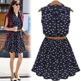 Wholesale Cat Street - Fashion Star Street Style Casual Dresses shirts dress Cat footprints pattern Show thin Shirt dress casual dresses with Belt Women Clothing