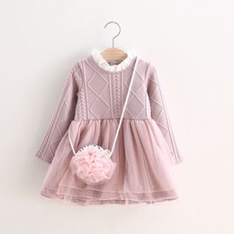 Wholesale Baby Clothes Wholesale Korea - Baby Kids Clothing 2018 vintage Flower girl dresses children korea ball gowns Tutu princess costume Baby-Girls chinese winter Knitting dress