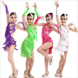 Wholesale Purple Dance Competition Costume - Wholesaler girl's tassel Applique latin dance dress competition dance dresses Dancing costumes suit party evening bar singer sexy