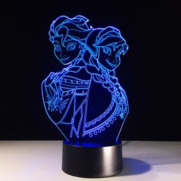 Wholesale Touch Lamp Free Shipping - Frozen 3D Optical Illusion Lamp Night Light 7 RGB Lights DC 5V USB Charging AA Battery Dropshipping Free Shipping
