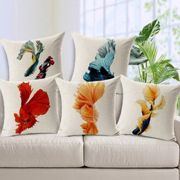 Wholesale Dance Throw - Fashion High Quality Pillow Cover Thicken Cotton Linen Dancing Fishes Decorative Throw Pillow Case Square Cushion Cover Sofa Home Decor