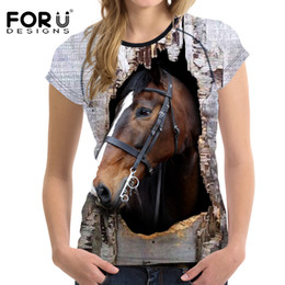 2017 t-shirt en gros pour imprimé animal Vente en gros- FORUDESIGNS 3D Crazy Horse Women T-shirt Summer Casual Femme à manches courtes Top Tees Animal Printing Ladies Confortable Tee Shirt peu coûteux t-shirt en gros pour imprimé animal