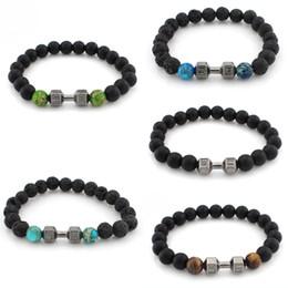 Wholesale black onyx chains - 8mm Onyx Gemstone Bead Fitness Fit Life Dumbbell Stretchable GYM Yoga Unique Charm Bracelet Fits All Men Women 12 Styles B338S