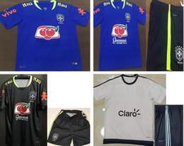 Wholesale Warm Ups - 2017 Brazil kits BLUE training suit soccer jersey, Sports Outdoors Brazil national team World Cup warm up training short long sleeve shirt