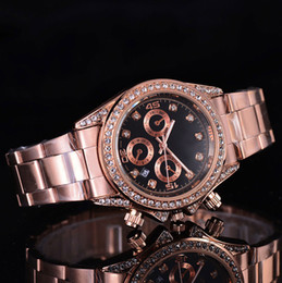 Wholesale Nude Rhinestones - New Dress Mens Women watches Luxury watch Rhinestone Gold Calendar Dial Stainless Steel Band Quartz Wristwatch For men Girls relojes clock
