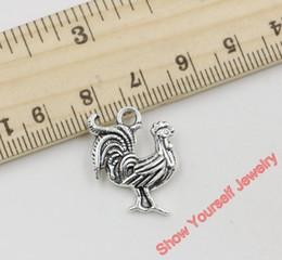 Wholesale Rooster Craft - Wholesale-15pcs Antique Silver Plated Zinc Alloy Rooster Charm Pendant for Jewelry Making DIY Handmade Craft 21x18mm C218