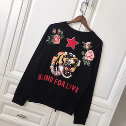 Wholesale Europe Autumn Fashion Blind For Love Men Women Luxury Hoody Sweatshirts Towel Embroidery Tiger Flower Stars lover Pullover Hoodie