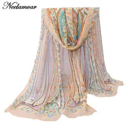 Wholesale Long Chiffon Cape - Wholesale-new chiffon georgette silk scarf women Bohemia long shawls Spring and Autumn cashew scarves and wraps sunscreen cape