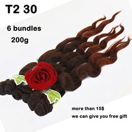 Wholesale Blonde Brown Body Wavy Extensions - Fashionkey Cheap Ombre Body Wave Hair 6 Bundles Short Ombre Black Red Wavy Hair Weave 2 Tone Hair Extensions Sexy Product