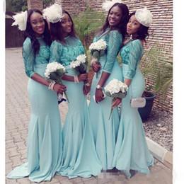 Wholesale vintage lake - 2017 African Mermaid Bridesmaid Dresses Lake Blue with Illusion Quarter Sleeve Satin Skirt Vintage Lace Maid of Honor Gowns Custom