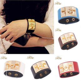 Wholesale 14k Gold Charm Bracelets - Punk Charm Bracelets Thick Double Band Through Buckle Wide Vintage Genuine Leather Bracelet Exaggerated Metal Rivet Wide Buckle PU Bracelet
